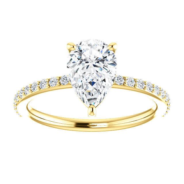 14K Yellow Gold Pear Forever One™ Moissanite & 1/5 CTW Diamond Engagement Ring