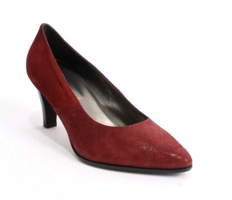 Gaja 6053 Burgundy Suede   Laser Treated Shiny Suede Pointy Pumps 37.5   US 7.5