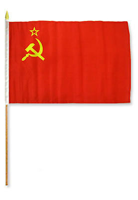 "12x18 12/""x18/"" Wholesale Lot of 3 USSR Stick Flag wood Staff"