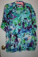Plus Size Ladies Blouse. Blue Print. Pleat Back. Us Size 24. Nwot. Free Post.