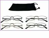 Reading Glasses [+2.25] 4 Pair All Silver Metal Frame Wholesale Reader 2.25