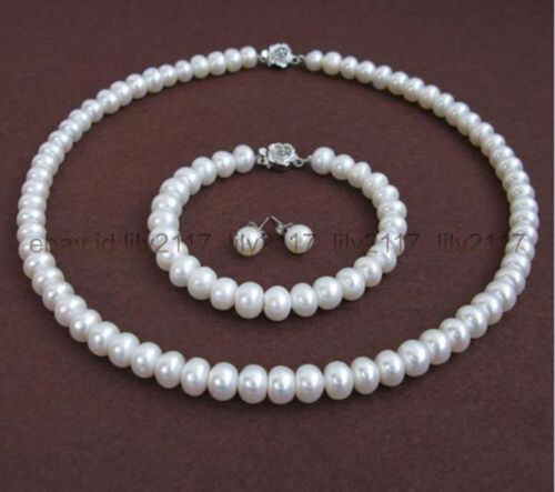 AA Natural White Pearl 8-8.5MM Rondelle Pearl Necklace Bracelet Earring Set