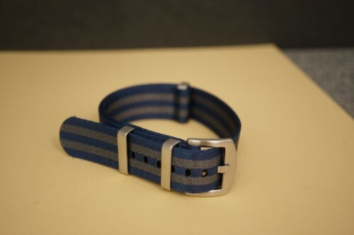 NATO Strap Armband 22 mm grau # navy  # Sicherheitsgurt seat belt  8576