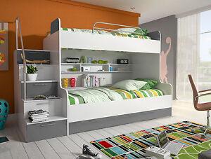 Das Bild Wird Geladen ALEX Hochglanz Hochbett Doppelbett Etagenbett  Mit Regalen Treppe