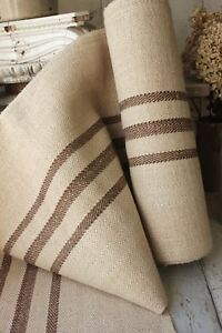 Details About Antique TABLE RUNNER HEMP Organic BROWN Linen Cotton Mix PER  ONE YARD