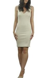 Women-039-s-Nude-Stretch-Bodycon-Mini-Dress-Office-Business-Cocktail-Size-14