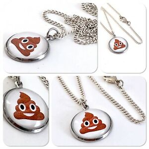 Emoji face Poo face pooface pooh Charm pendant necklace txt geek