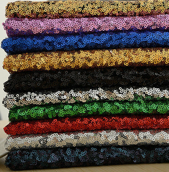 3mm MINI SEQUIN Fabric Stretch Material - Sparkling Pailettes Sequins 130cm wide