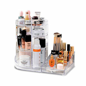 Clear-Rotating-Acrylic-Beauty-Cosmetic-Organiser-Makeup-Drawers-Tray-Box-Case