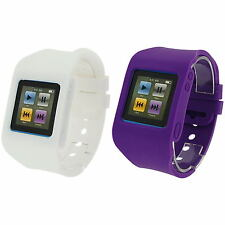 RUBZ White &Purple Watch Band Strap Case Cover Apple iPod Nano 6th Generation UK