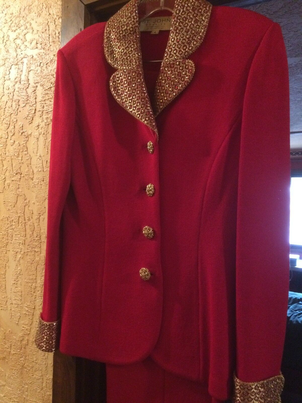 St. John Suit, Classic, gold embroidery