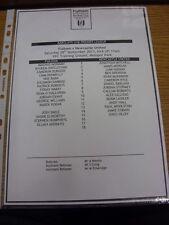 28/09/2013 Fulham Youth v Newcastle United Youth [At Motspur Park] (Single sheet
