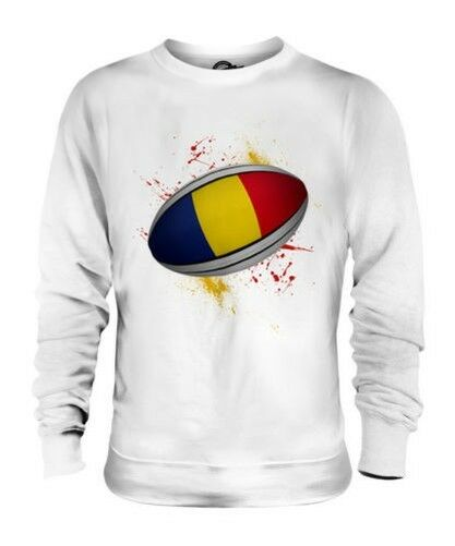ROMANIA RUGBY BALL SPLATTER UNISEX SWEATER TOP GIFT WORLD CUP SPORT
