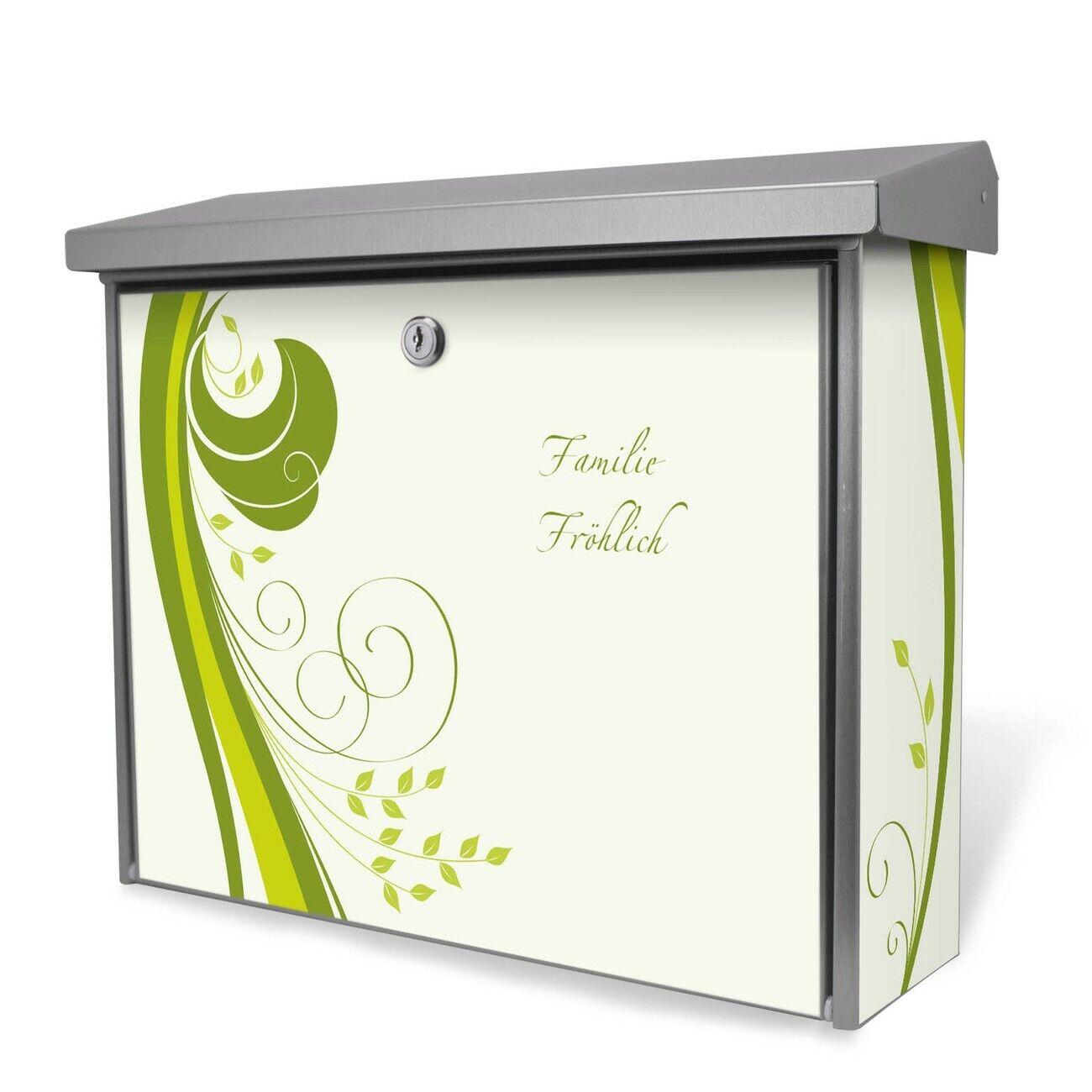 Briefkasten aus Edelstahl Burg-Wächter 2 Schlüsseln personalisiert Grün Swirl