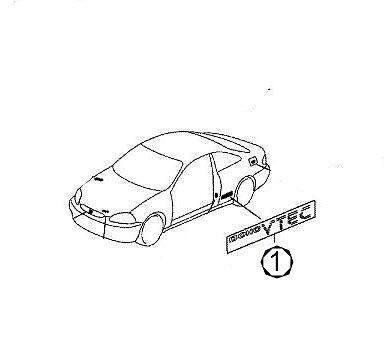 2 Door DOHC VTEC Side Decal Sticker x 1 Genuine OEM Honda 99-00 Civic Si Coupe