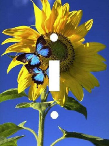 BLUE BUTTERFLIES ON SUNFLOWERS LIGHT SWITCH PLATE COVER