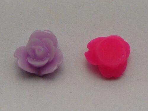 50 Color mezclado de cabujón de Juliet Flor Rosa flatback Resina 8mm hágalo usted mismo Adorno