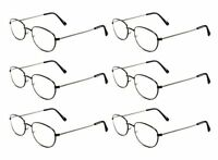 Mr. Reading Glasses [+2.25] 6 Pair All Black Metal Frame Reader Wholesale 2.25