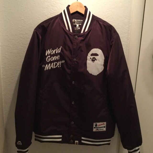 c96b1fff Frequently bought together. BAPE WGM World Gone Mad Violet Purple Bomber  Varsity Jacket XL Men's Majestic