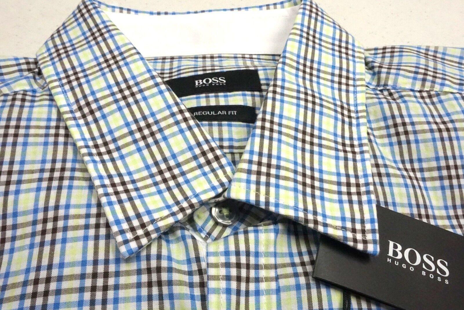 NWT  Hugo Boss SS Shirt Reg Fit bluee Green Brown Plaid Mens Size L M 2XL NEW
