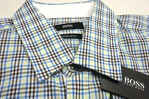 NWT-125-Hugo-Boss-SS-Shirt-Reg-Fit-Blue-Green-Brown-Plaid-Mens-Size-L-M-2XL-NEW