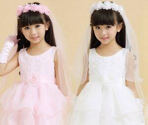 Flower-Girl-Children-Kids-White-Pink-Hair-Head-Lace-Veil-Garland-headband-tiara