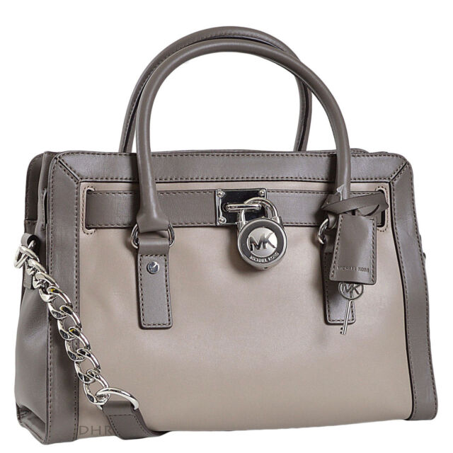 b6e34ebbf7e7 ... get michael kors hamilton frame out leather east west ew dark taupe  elephant satchel a9dd4 35f41 ...