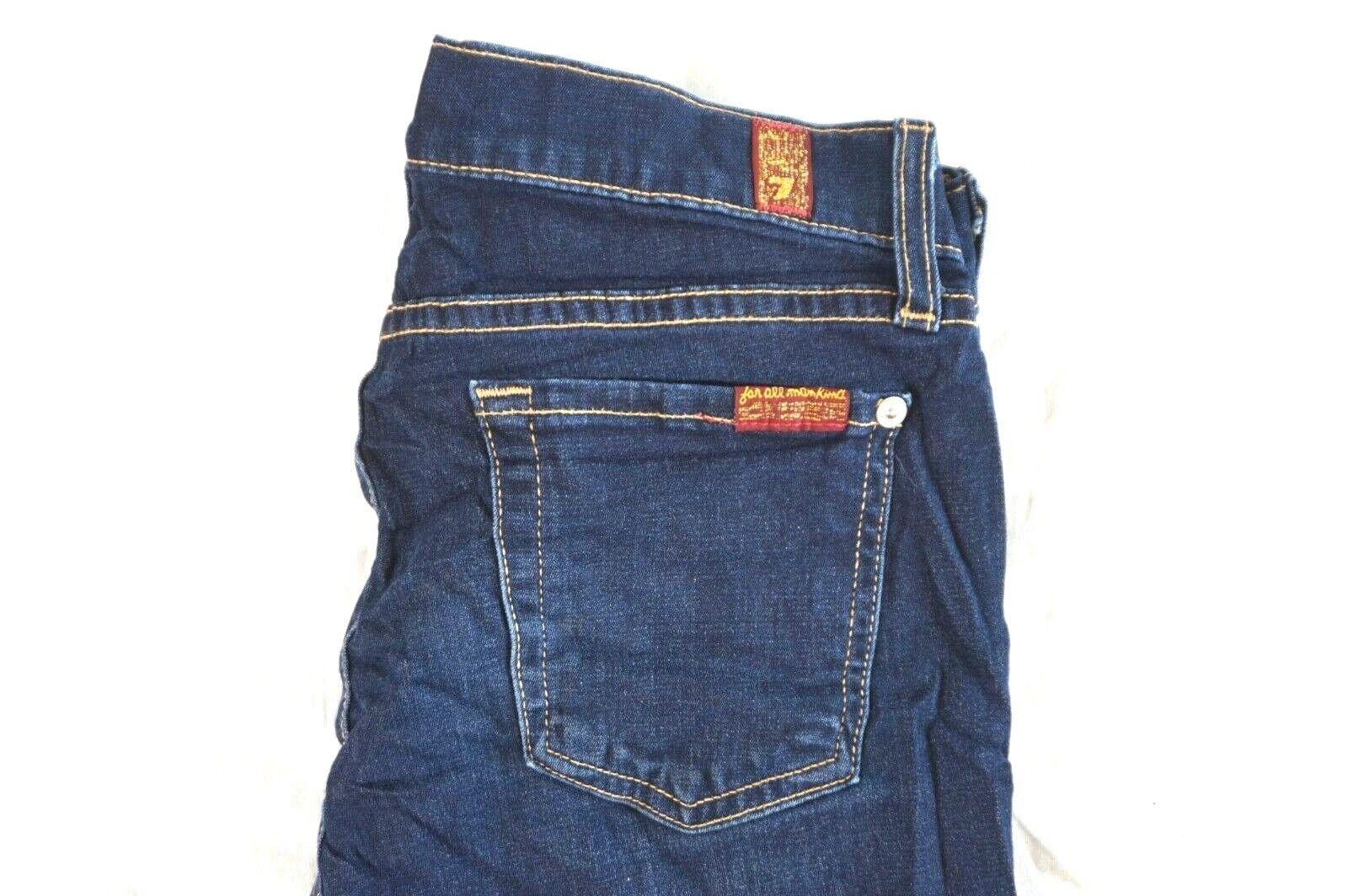 7 FOR ALL MANKIND Women's Dark Wash Skinny Denim Jeans 24 x 27 EUC