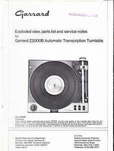 GARRARD EXPLODED DIAGRAM & PARTS LIST for a MODEL Z2000B AUTO TURNTABLE