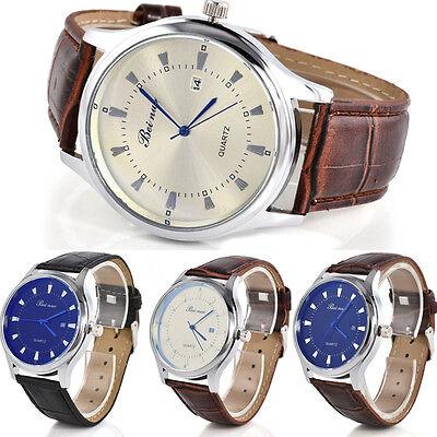 Vintage Simple Calendar Dial Leather Band Men's Business Quartz Wrist Watch