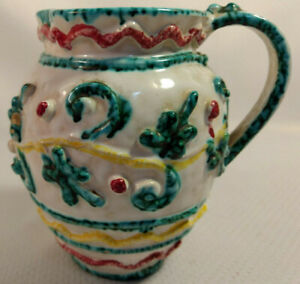 Old Vintage Water Milk Cream Syrup Pitcher Applied Design Ceramic Italy Portuga