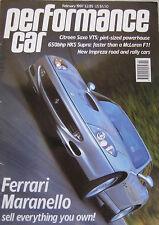 Performance Car 02/1997 featuring Ferrari, Lotus Esprit,Subaru Impreza,Westfield