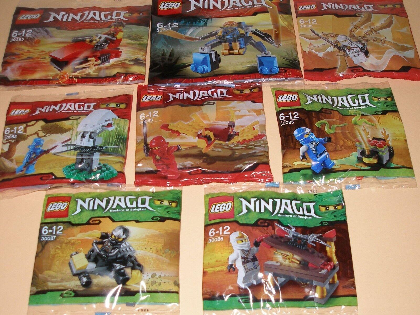 8x Lego Ninjago  2x Kai , 3x Jay , 2x Zane und Cole mit viel Zubehör OVP