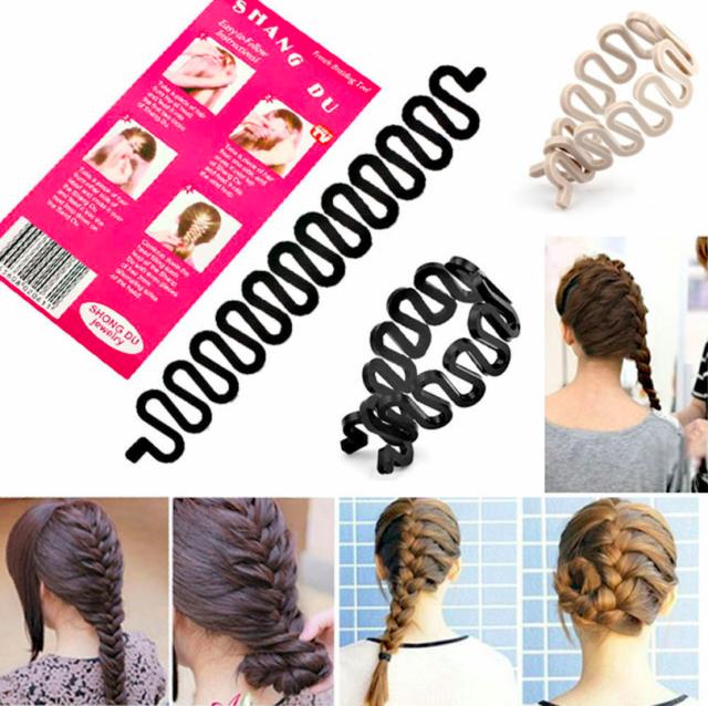 French Braid Plaiting Twist Braider Roller Hook Bun Maker Hair Styling Tool 1x