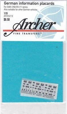 Archer Fine Transfers Ar35215 - German Information Placards 1/35