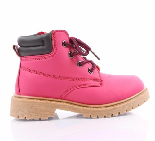 3 COLOR MILITARY COMBAT STYLE GIRLS LACE UP KIDS ANKLE BOOTS YOUTH SIZE