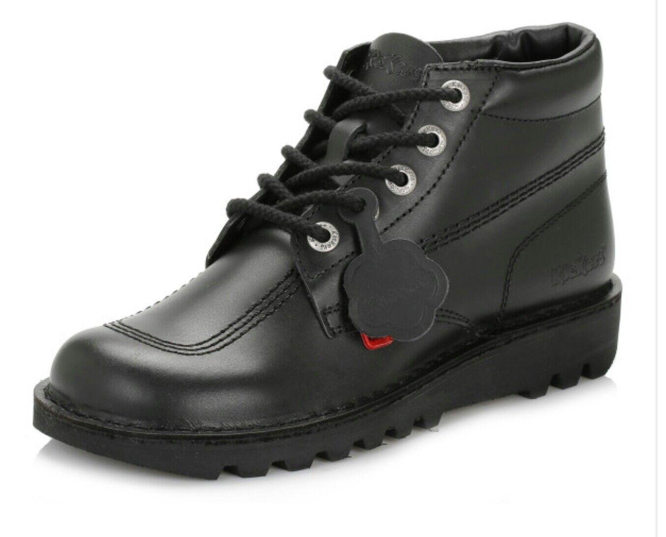Kickers HI Junior/Youth Unisex Black Black Unisex Leather Ankle Boots UK Sizes 6 and 8 3d423c