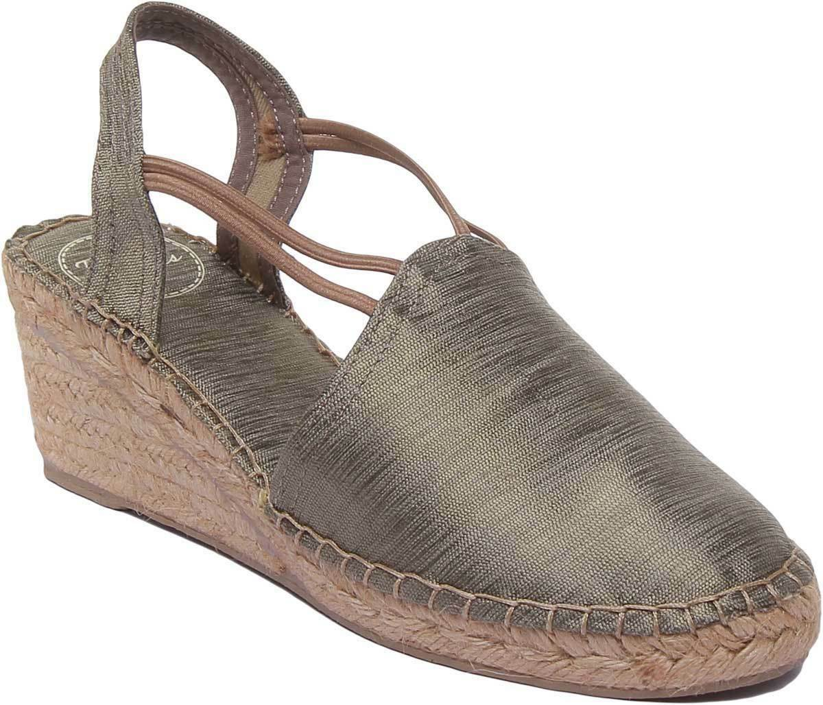 Toni Pons Turia Womens Canvas Ankle Strap Espardrilles In Taupe UK Size 3 - 8