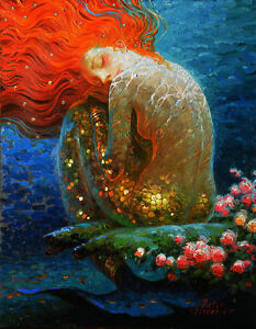 Modern Home Art Wall Decoration Mermaid Fantasy Oil Painting Printed On Canvas