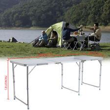 180x60cm Campeggio Tavolo Pieghevole Richiudibile a Valigetta Altezza Regolabile
