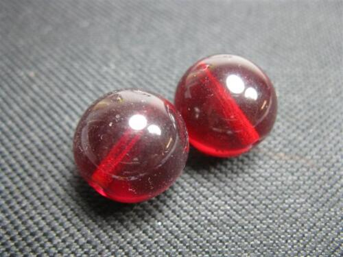2  böhmische Glasperlen rot 15mm B766