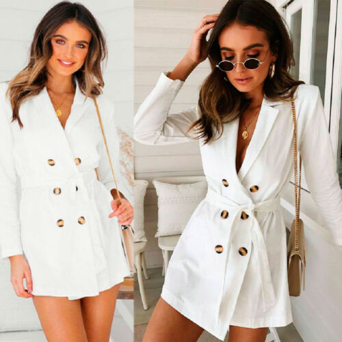 Women Ladies Button Lace-up Long Sleeve Line Stylish Duster Blazer Jacket Coat
