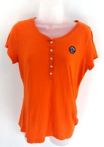 HOLLISTER-Womens-T-Shirt-Top-M-Medium-Orange-Cotton-amp-Polyester