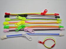 10 Mixed Color Plastic Hip Zip Zipper Bracelet Bangles Kids Girls Party Favors