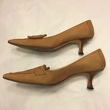 MANOLO BLAHNIK beige nubuck suede leather courts pumps 36 / UK 3