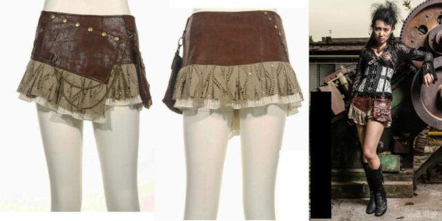 RQ-BL Rock Steampunk Kunst-Leder Victorian Vintage Gothic Lace Mini SP090 Brown