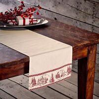 Cabin Christmas Table Runner 13x36 Red / Antique White Cabin Scene