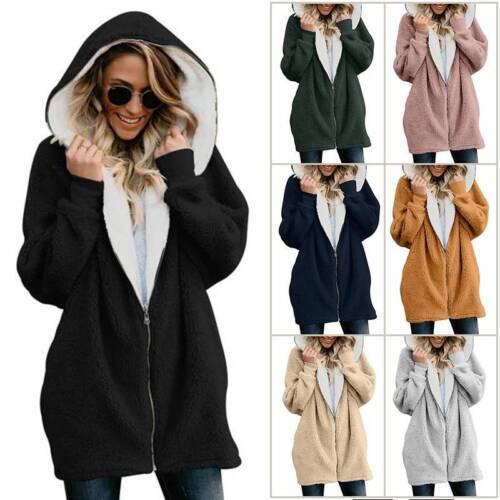 Women Winter Warm Fluffy Hoodie Fleece Oversized Solid Jacke