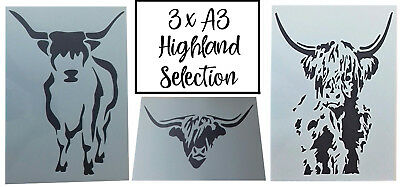 Shabby Chic Highland Cow A3 Stencil selection pack Vintage 420x297mm wall art