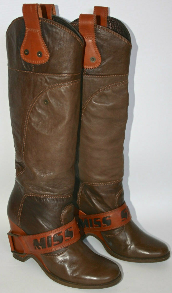 Most Wanted MISS SIXTY LARA TAN LEATHER WORN Stiefel  COMPLETELY SOLD-OUT WORN LEATHER ONCE 5df5cf